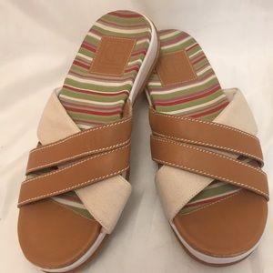 Cole Haan Slip On Sandals Slides Leather/Canvas 7B